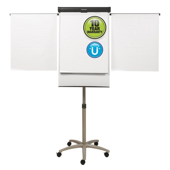 Quartet® Compass Mobile Presentation Easel, Magnetic Whiteboard/Flipchart, 3' x 2', Graphite Finish Frame