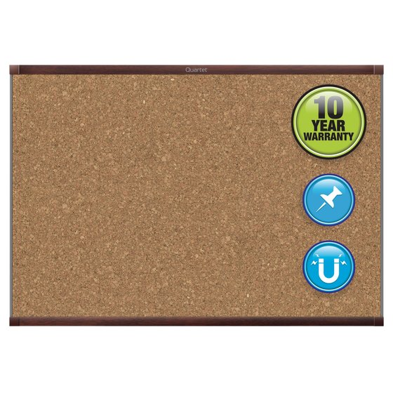 Quartet® Prestige® 2 Magnetic Cork Bulletin Boards, Mahogany Finish Frame