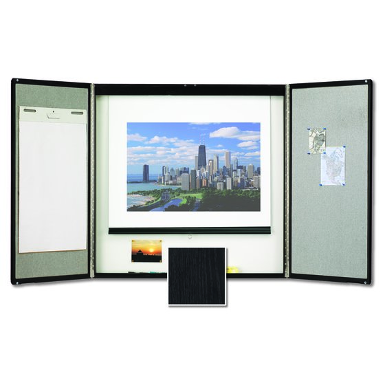 Quartet® Premium Conference Room Cabinet, 4' x 4', Whiteboard Interior with Projection Screen, Black Finish