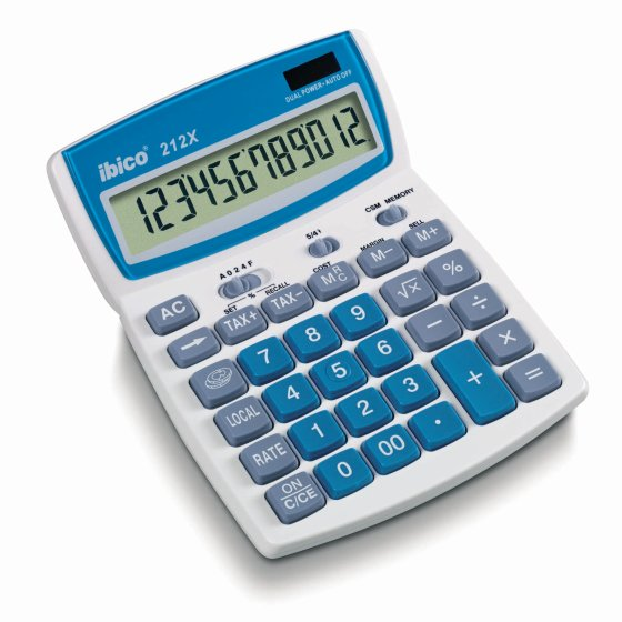 Ibico 212X Desktop Calculator White/Blue