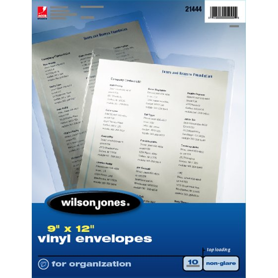 "Wilson Jones® Envelope Pouches, Top-Loading, 9"" x 12"", Non-Glare, 10/Pack"