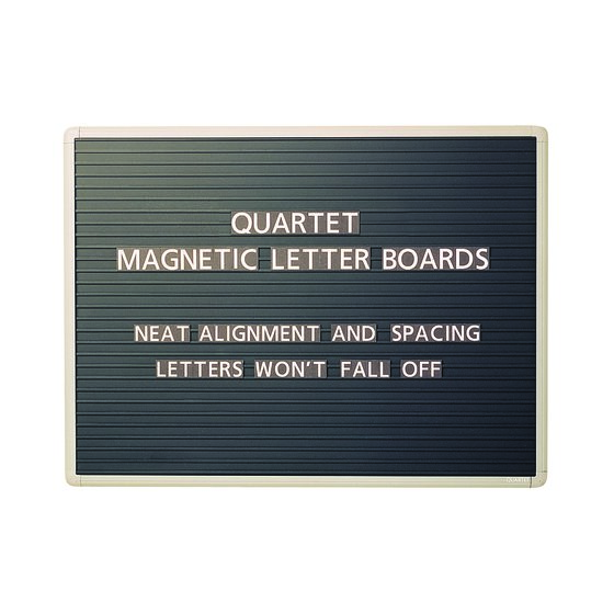 "Quartet® Magnetic Letter Board Sign, 36"" x 24"", Horizontal Ridges, Easy Mounting"