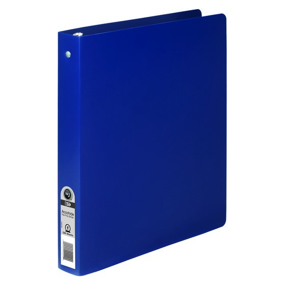 "Wilson Jones® ACCOHIDE® Round Ring Binder, 23 Pt., 1"", Matte, Blue"