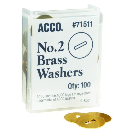 "ACCO® Brass Washers, 15/32"", Box of 100"