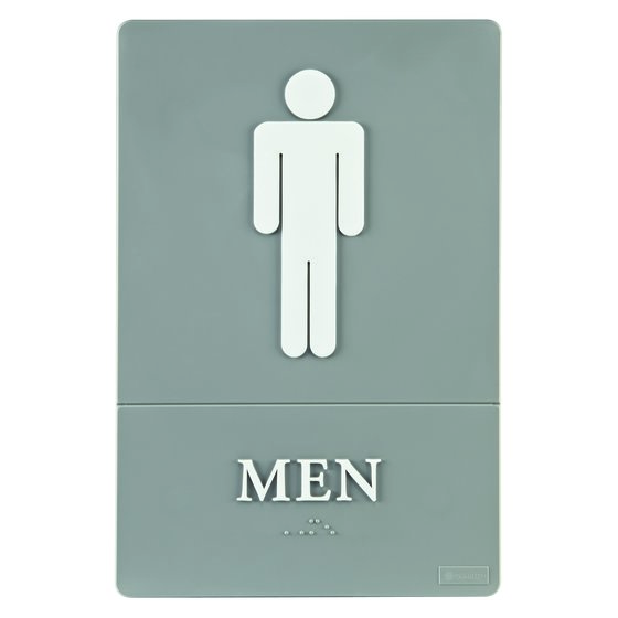 "Quartet® ADA Signs, Men, 6"" x 9"", Grade 2 Braille"