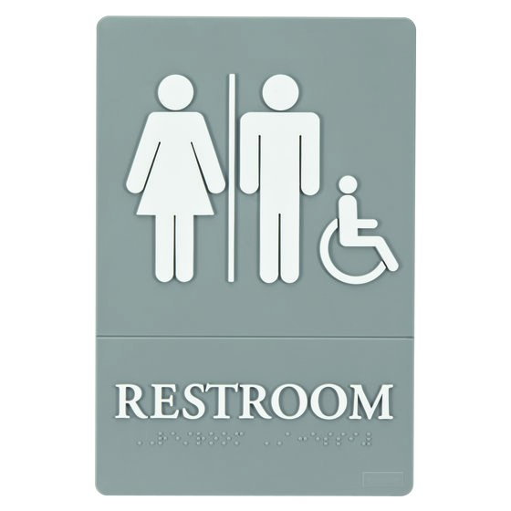 "Quartet® ADA Signs, Restroom (Accessible), 6"" x 9"", Grade 2 Braille"